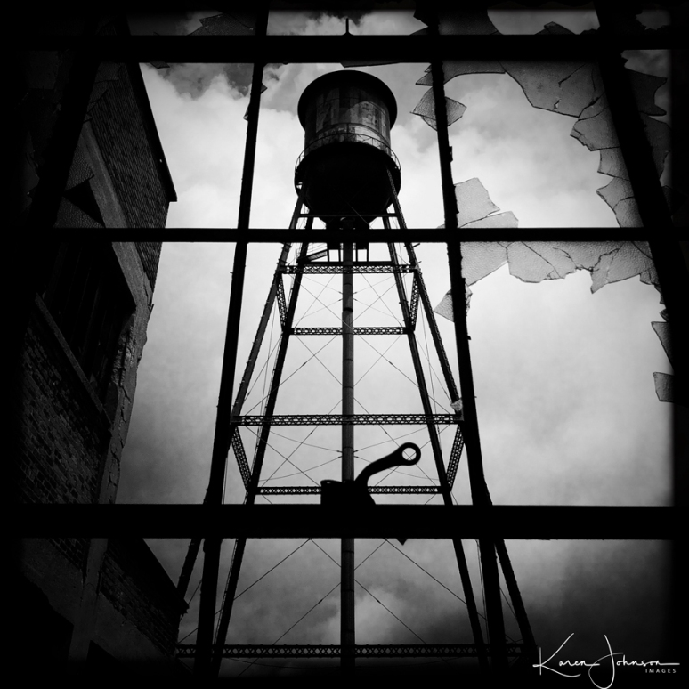 Water-Tower-B&W-thru-window